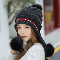 Wholesale skull ball caps online - High Quality Wool Knitted Cap With Little Hair Ball Lady Brand Beanie Women Fashion Ear Protection Hat Red White rm Ww
