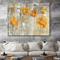flores amarillas pintura abstracta al por mayor-Pintado a mano moderno abstracto flores amarillas arte pintura al óleo sobre lienzo arte de la pared para la decoración casera de alta calidad l45