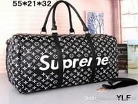 markalı el çantaları toptan satış-2019 erkek spor çantası kadın seyahat çantaları el bagaj lüks markalar tasarımcı seyahat çantası erkekler pu deri çanta büyük çapraz vücut çanta kılıf 55 cm