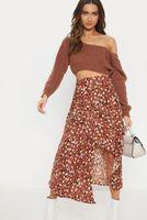 ingrosso bohemian style clothing-2019 donne estate vestiti stile della Boemia gonna a vita alta spaccatura irregolare per il vestito di stampa sexy di vacanza