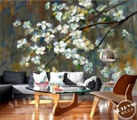 Wholesale chinese dining room wallpaper resale online - European Style Retro White Flower Background Wall D Photo Wallpaper Dining Room Hotel Home Decor Mural Papel De Parede Floral