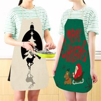 Wholesale sleeveless aprons resale online - Creative Christmas Apron Prined Sleeveless Cotton Hemp Aprons Santa Claus Elk Designs Pinafore Fit Xmas Party Supplies my E1