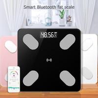 akıllı ölçekli bluetooth toptan satış-0.1 kg-180 kg Banyo Ölçekler Vücut Yağ Ölçeği LCD Dijital Akıllı Ses Bluetooth APP Elektronik Terazi Vücut kompozisyonu Analizörü