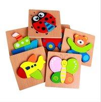 tiere cartoon-puzzles großhandel-Hölzernes Puzzlespielspielzeug der Kinder Karikaturpuzzlespiel-dreidimensionales Puzzlespielhandgriffbrett-Bausteine Tiermosaik