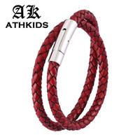 Wholesale snap wristbands resale online - Vintage Double Layer Retro Red Leather Braided Bracelet Stainless Steel Snaps Men Women Wristband New Jewelry Gifts PD0488
