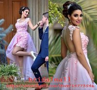 Wholesale prom dress gray lovely online - 3D Flowers Pink Arabic Short Prom Dresses With Removable Skirts Lovely Lace Appliqued Cocktail Party Gowns Sheer Back Homecoming Dress