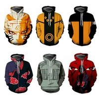 casacos naruto akatsuki venda por atacado-Naruto Moletom Com Capuz Casaco Moletons Kakashi Akatsuki Sasuke O'Brien 3D Hoodies Pullovers Homens Mulheres Outerwear Jaqueta Com Capuz