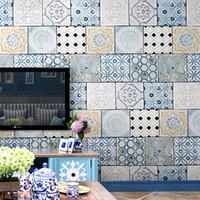 обои в средиземноморском стиле оптовых-Bohemian style wallpaper Southeast Asia Thai national style waterproof imitation tile Mediterranean TV background wallpaper