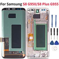 huawei bağlantısı toptan satış-Süper AMOLED Lcd İçin Samsung S8 Artı G955 / S8 G950 LCD Ekran Dokunmatik Ekran Sayısallaştırıcı Meclisi YOK Hiçbir ölü piksel burnshow