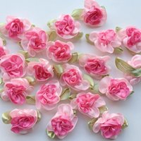 ingrosso testa di fiore artificiale rosa-10pcs fiori di nastro di raso rosa cucito artigianato appliques decorazione di cerimonia nuziale fiore artificiale testa di fiore finto fai da te