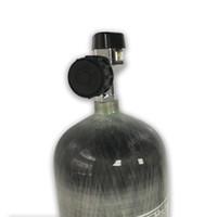 silindir için valf toptan satış-Promosyon Sıcak 300bar 4500Psi Pcp Paintball Tankı Vana SCBA Karbon Fiber Silindir Için Büyük Basınç Göstergesi ile Acecare 2019