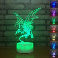 lampes de table bleu achat en gros de-Yu Gi Oh Blue-Eyes Blanc Dragon 3D Lampe De Table Tactile Contrôle 7 Couleurs Changement Acrylique Night Light USB Décoratif Enfants Cadeaux