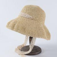 chapeau de dentelle au crochet achat en gros de-Chapeaux de dentelle large bord Crochet Crochet chapeau Curling crème solaire soleil chapeau extérieur Voyage visière dentelle paille large chapeaux