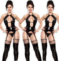 mono talla grande de cuero negro al por mayor-Ropa interior atractiva para las mujeres Lencería erótica de cuero negro Tentación Sling Leather Sling Jumpsuit Plus Size M-4XL No incluye calcetines