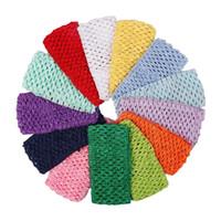 bandeaux larges multicolores achat en gros de-Couvre-chef Stretch doux de couleur multi de bandeau large et solide pour les enfants Turban Élastique Accessoires de cheveux