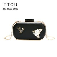 Wholesale butterfly designer handbags resale online - Vintage Butterfly Print Box Bags For Women Evening Party Luxury Handbags With Chain Female Designer Ladies Shoulder Fashion Bags