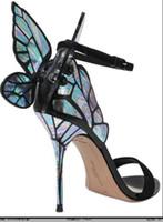 kelebek yüksek topuk ayakkabıları toptan satış-Sophia Webster Sandalet Hakiki Deri Bayan Seksi Stiletto Ayakkabı Için Kelebek Yüksek Topuk Sandalet Pompalar
