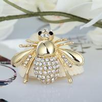 estoque de broches venda por atacado-Broches Designer de luxo Bling Bling Rhinestone Pin Broche para Mulheres Presente Abelha Broche de Jóias De Prata De Ouro Em Estoque