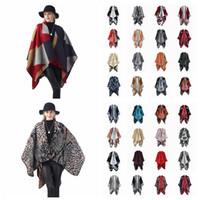Wholesale tartan cape scarf for sale - Group buy Women Scarf Cardigan cm Patchwork Poncho Cape Spring And Autumn Warm Blanket Cloak Wrap Shawl outwear Coat LJJA3180