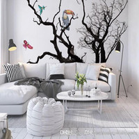 mural de pared blanco negro fondo de pantalla al por mayor-Custom European Photo Wall Murals Wallpaper Animal Birds Black White Artistic Tree 3D Room Wallpaper Roll Landscape Murales de pared