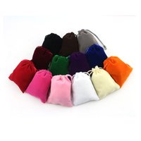 kleine nylon-tunnelzugtaschen großhandel-300 TEILE / LOS Samt Aufbewahrungspaket Beutel Reine Farbe Kordelzug Frauen Nette Kleine Tasche Weihnachtsgeschenk Beutel