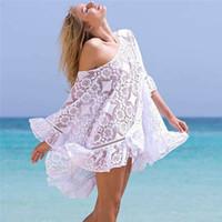 mini lose spitzenspitzen großhandel-Womens Lace Häkeln Bluse Weibliche Sommer Lose Beachwear Spitze Cover-up Blusen Kaftan Hemd Tops Urlaub Meer Side Kleidung Neue