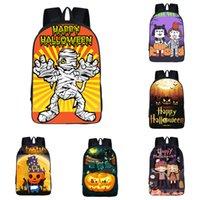 ingrosso scuola borse grande bambini-Zaino per bambini Cartoon Pumpkin Backpack Tema di Halloween 15 Design 3D Ghost School Bag Bambini Zaino grande da 16 pollici resistente all'usura di alta qualità 06
