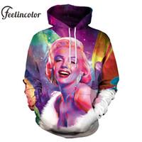 marilyn monroe sweatshirt toptan satış-Feelincolor 2019 3D Hoodie Erkekler / Kadınlar Marilyn Monroe Sanat Baskılı Hoodie Unisex Kapşonlu Tişörtü Eşofman Artı Boyutu