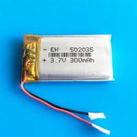 pil lipo hücresi toptan satış-Li-polimer LiPo Şarj Edilebilir Pil 3.7 v 300 mAh 502035 hücreleri li iyon güç Için mini hoparlör Mp3 bluetooth GPS DVD Kaydedici kulaklık
