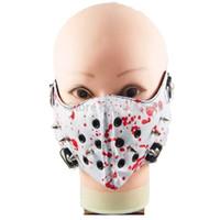 siyah güvenlik maskeleri toptan satış-Punk Rock N 'Rulo Çiviler Siyah Beyaz Kırmızı PU Deri Ağız Muffle Maske Toz Filtresi Tasma Kölelik Sınırlamalar