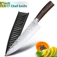 et bıçakları toptan satış-8 inç Mutfak Bıçağı Profesyonel Japon Şef Bıçakları 7CR17 440C Yüksek Karbon Paslanmaz Çelik Et Santoku Bıçak