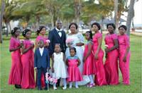 vestidos de dama de honor rosa al por mayor-2019 Nueva Hot Pink estilo nigeriano árabe sirena vestidos de dama de honor Sheer cuello mangas cortas de encaje más tamaño boda barata invitados vestidos de fiesta