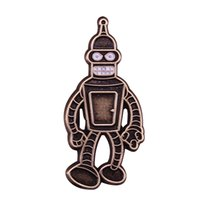 Wholesale combat backpacks for sale - Group buy Futurama Bender pin retro combat robot brooch cute animated cartoon jewelry funny shirts backpack decor