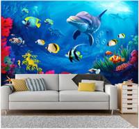 fondo de pantalla de delfines bajo el agua al por mayor-Papel tapiz fotográfico personalizado para paredes Papel tapiz de murales en 3 d Mundo submarino 3D estéreo dolphin living room TV fondo papeles de pared