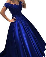 sexy vestidos de fiesta del ejército al por mayor-Royal Blue Barato Vestido de fiesta Vestido de fiesta Fuera del hombro Encaje Flores 3D Con cuentas Corsé Volver Satén Vestido de noche Vestidos formales Nuevo
