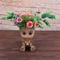 ingrosso decorazioni del modello di navi-Baby Groot Flowerpot Action Figures Decorazione della casa Guardiani della Galassia Cute Model Toy Flower Pot Drop Shipping C19041901
