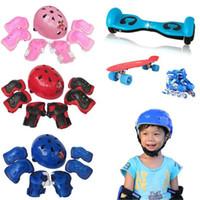 Wholesale wrist roller resale online - Protector set Cycling Skating Skateboard Helmet Elbow Knee Wrist Pads Children Bike Bicycle Roller Protect gear A25