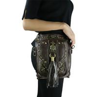 bolso cruzado cuerpo calavera al por mayor-Steampunk Bags Skull Cross Body Riñonera Brown Leather Gothic Tassels Leg Bag 2017 Motocicleta Leg Bag para Mujeres Hombres