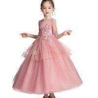 long first communion dresses toptan satış-Çiçek Kız Elbise Düğün İçin Parti Tül Dantel Uzun Elbise Çocuk giyim Parti Elbise Çocuk İlk Communion Prenses Kostüm