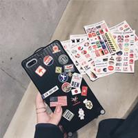 супер симпатичные случаи телефона оптовых-Чемодан / Багажный чехол для телефона Супер милая дорожная сумка Сумка DIY Любители Письма Жесткий + 8 стик Soft для iphone 6 6s 7 8 плюс X