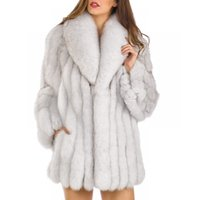 trench de mulheres mais tamanhos venda por atacado-Moda Das Mulheres do Falso Casaco De Pele Plus Size Jaqueta Parka Longo Trench Inverno Quente Grosso Outerwear Casaco XS-4XL