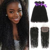 afro kinky kapaklar toptan satış-Afro Kinky Kıvırcık İnsan Saç Demetleri Ile Kapatma Ham Bakire Hint Saç Kapatma Remy Saç Uzantıları Ile 3 Demetleri Beyo
