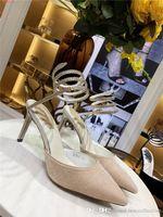 sandálias de sola de tecido venda por atacado-Sapatos de Salto Alto Clássico, Veludo Superior Mules Tecido com Couro Sola, Tiras no tornozelo stiletto sandálias Altura do pé 7.5 cm