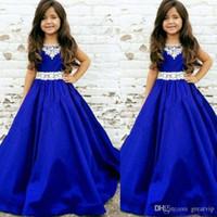 Wholesale princess first communion dresses resale online - 2020 Royal Blue Girls Pageant Dresses Lace Jewel NeckToddler Infant Satin Long Cheap Flower Girl First Communion Dress