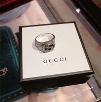 anillos de plata de ley negro al por mayor-925 plata esterlina Viking ronda gran ancho Signet gg anillo dedo mujeres hombres negro plata diseñador de moda joyería Vintage novio regalos