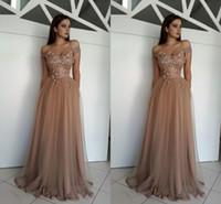 kahverengi elbise taban uzunluğu toptan satış-Seksi Kapalı Omuz Kahverengi Gelinlik Modelleri A Hattı 3D Çiçekler Aplike İnciler Boncuklu Kat Uzunluk Tül Abiye giyim Korse Özel Durum Elbise