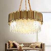 lüks lamba toptan satış-Modern Kristal Lamba Avize Oturma Odası Için Lüks Altın Yuvarlak Paslanmaz Çelik Zincir Avizeler Aydınlatma 110-240 V