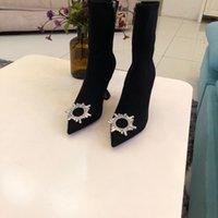 botines de piel de oveja de gamuza al por mayor-Hot-diseñador de la venta de las mujeres de piel de oveja diamante Lykabu Pony cuadrados Talón mitad de la pantorrilla botas del tobillo de la cremallera de gamuza en punta del dedo del pie zapatos de la manera Tamaño 34-40