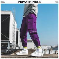 pantalones cargo morado para hombres al por mayor-Privathinker Men Purple Joggers Pants 2019 Bolsillos para hombre Streetwear Cargo Pants Hombre Hip Hop Track Pants Korean Fashions OverolMX190904