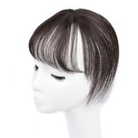 franges de cheveux achat en gros de-Sara 360 ° Clip Bang Fringe 3D 100% Air Naturel Humain Cheveux Frange Clip Fringe Frange Bang Pièce de Cheveux Raides Extension Postiche 8 cm * 20 cm